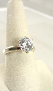 Sterling Silver Ring Engagement DQ CZ Estate Size 8