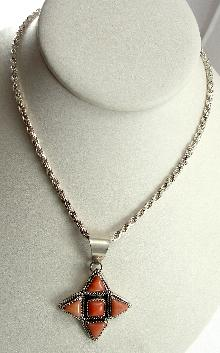 Sterling Silver Pendant Necklace Angel Skin Coral 20