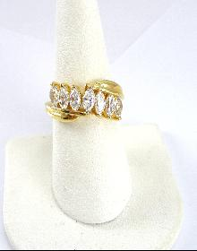 Sterling Silver Ring Vermeil CZ Marquise Cut Size 7