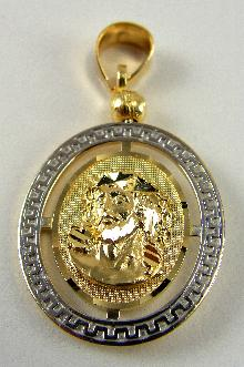 14K Medal Religious Christs Head Our Lady of Guadalupe