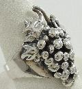 C B Stark Martha's Vineyard Artisan Sterling Grape Cluster Ring 1 1/8