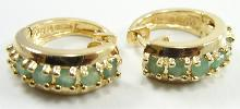Sterling Gold Vermeil Natural Emeralds Huggie Earrings Small Petite Girl Round