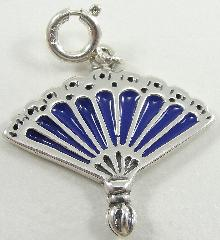Sterling Silver Blue Purple Enamel Fan Charm Detailed 7/8
