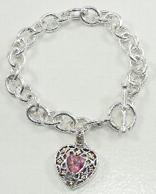 Sterling 14K Rolo Link Bracelet Pink Stone Heart Charm Toggle Accent Diamond 7.5