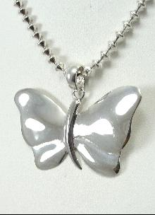 Sterling Silver Butterfly Pendant Designer Bead Chain Necklace Long 24.25