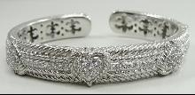 Authentic Judith Ripka Sterling Cuff Bracelet 3 Heart Diamonique CZ Hinged Heavy