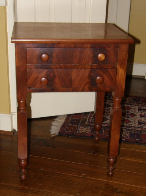 Cherry Two Drawer Table with Mahogany Drawer Fronts