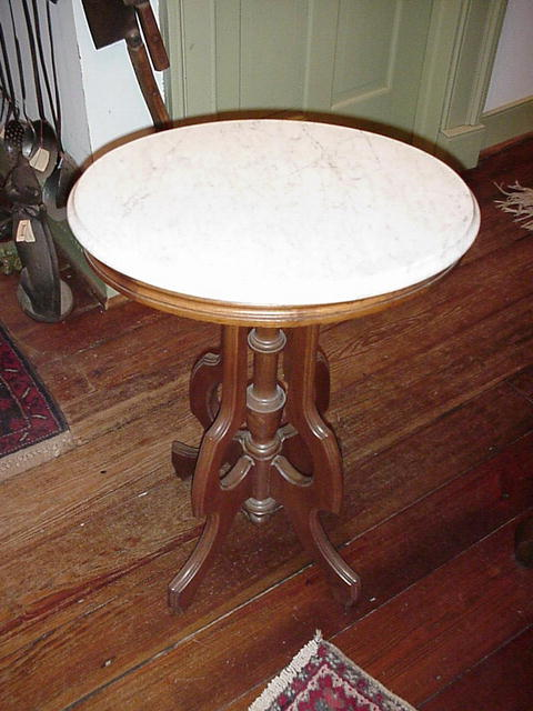 Walnut Oval Table with White Marble Top
