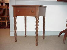 Walnut One Drawer Table with Sausage Legs