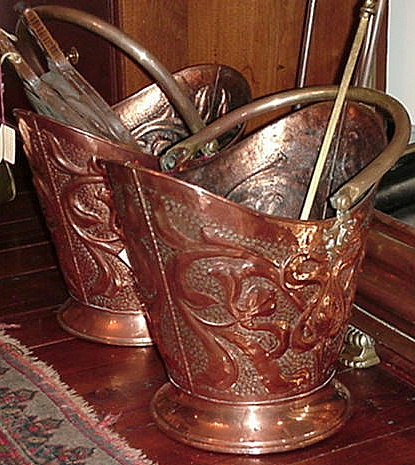 Pair of Copper and Brass Coal Buckets