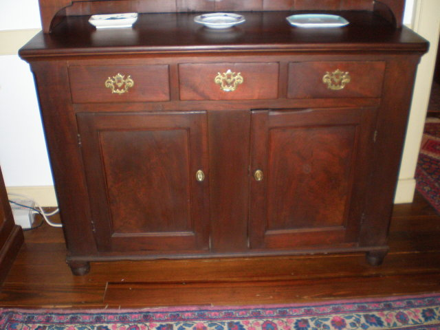 Solid Walnut Two Part Stepback Cupboard