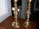 Pair of Bulls Eye Victorian Brass Candlesticks