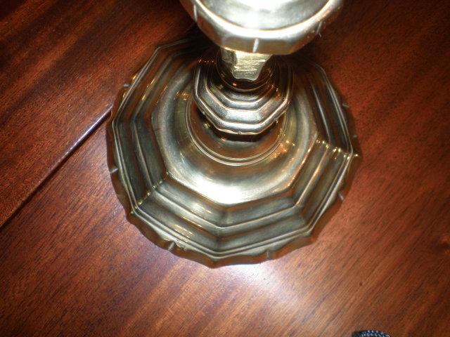 Pair of Continental Brass Candlesticks