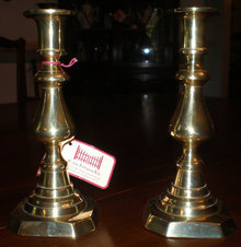 Pair of Push Up Style Brass Candlesticks