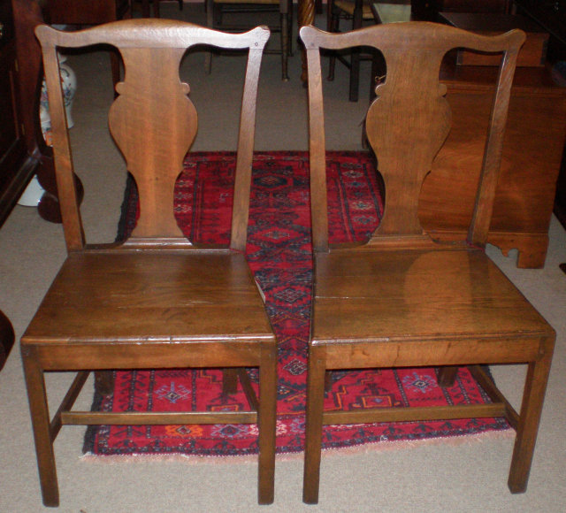 Pair of Oak Chippendale Chairs