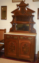Marble Top Walnut Sideboard