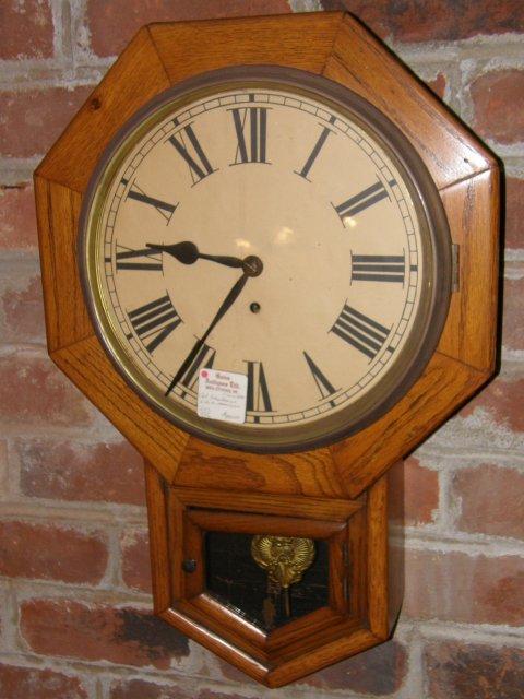 Oak School House Clock
