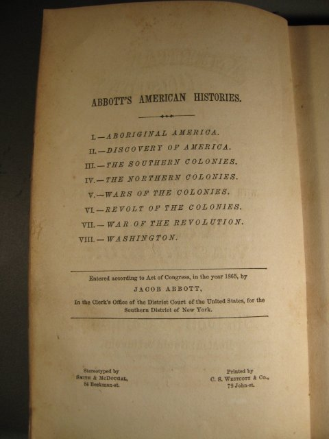 American History by Jacob Abbott Vol VIII Washington cp 1865 1st edition