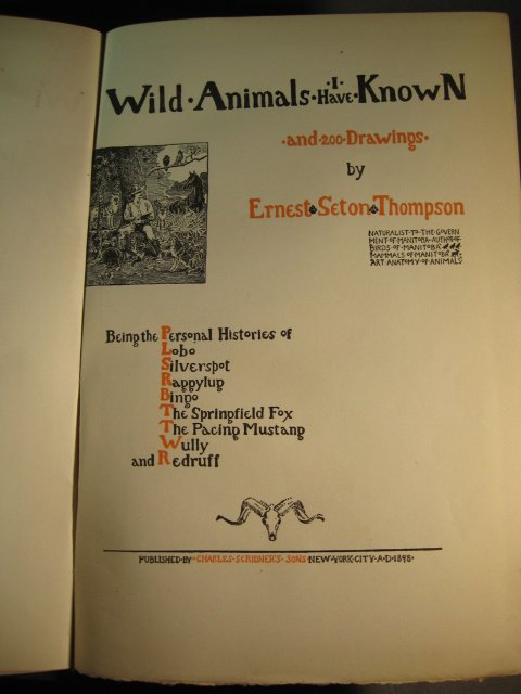 Wild Animals I Have Known Ernest Seton Thompson 1st ed. HB