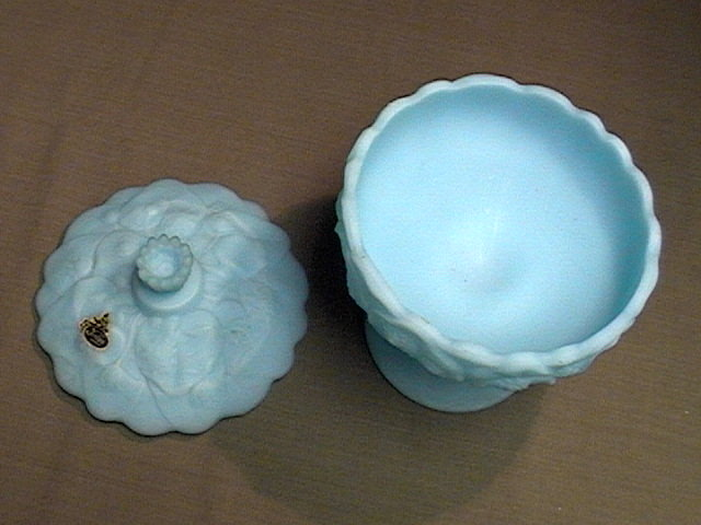 Fenton Blue Satin Water Lily Covered Candy Dish