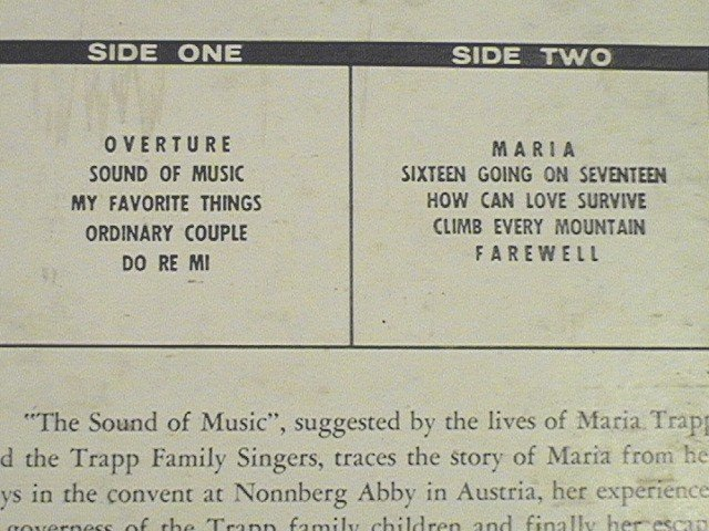 The Sound of Music Original Motion Picture Sound Track LP Record