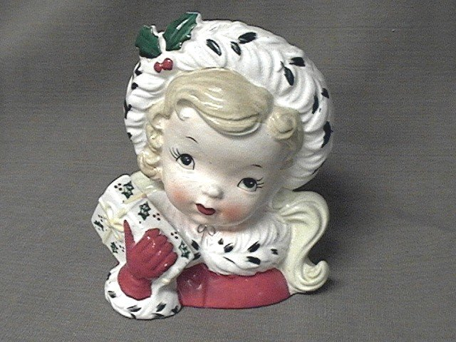Napco Christmas Head Vase Young Girl