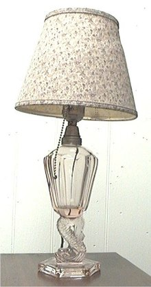 Pink Depression Glass Lamp with Dolphin