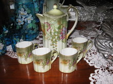 Bavaria Chocolate Pot/Tea Set w.grapes signed A. Koch