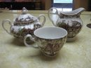 Brown transferware cups