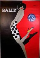 Villemot Bally Kick poster on linen late printing