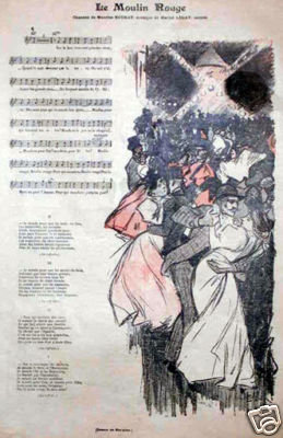 Steinlen Cover for Gil Blas 1890's Moulin Rouge