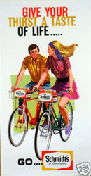 Schmidts Beer Bicycle poster 1960's 24 x 45 inches