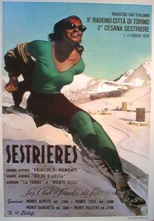 Sestrieres by Gino Boccasile 1978 printing Ski poster
