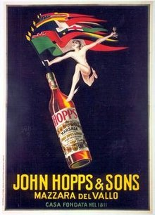 John Hopps & Sons by Bazzi 1920's original on linen