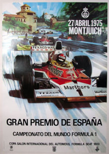 Grand Prix Spain Michael Turner original 1975 on linen