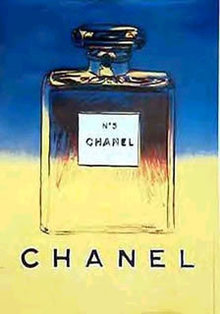 CHANEL POSTER by WARHOL ORIGINAL Blue/Yellow on linen