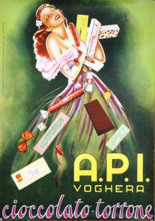API Cioccolato Italian Chocolates poster 1950 original