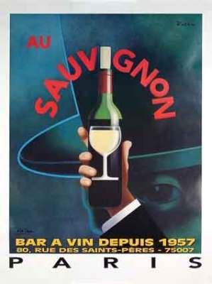 Au Sauvignon Wine Bar Poster by Razzia original mint 1995