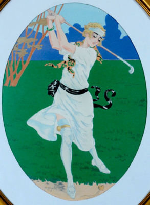 Golf Lithograph by Grellet 1920 arches paper