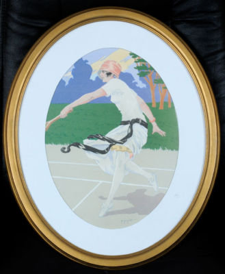 Tennis Lithograph Grellet 1915-20 on arches paper