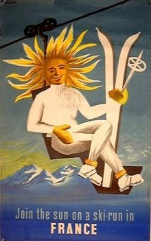 Sun Ski man France by Dubois c1950's on linen