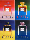 Medium CHANEL POSTER set of 4 by WARHOL ORIGINAL 1997 on linen