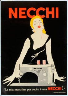 Necchi Sewing machine poster by Grignani 1950 original