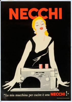 Necchi Sewing machine poster by Grignani 1950 original