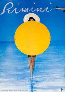 Rene Gruau Rimini Sun 1993 travel poster original