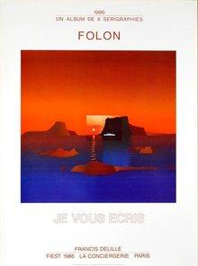 Jean Michel Folon Exhibition Je Vous Ecris Poster