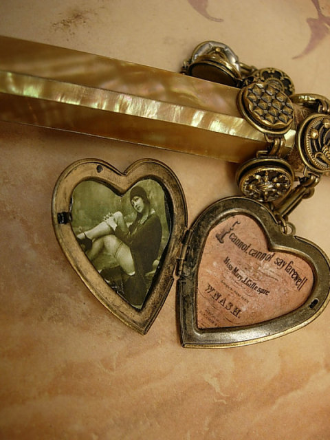 I cannot say Farewell button heart locket bracelet