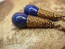 28ct Lapis Luzi modernist earrings Coil earrings pyrite and cobalt blue earrings