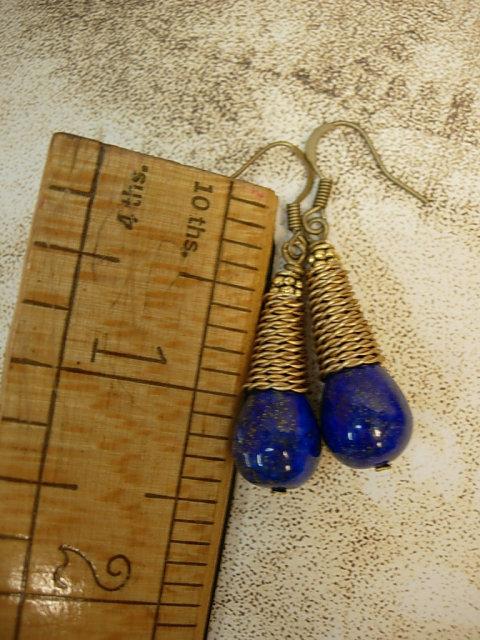 28ct Lapis Luzi modernist earrings Coil earrings pyrite and cobalt blue earrings