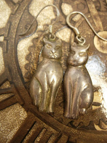 Vintage signed cat earrings sterling earrings spooky halloween cat Pierced earrings